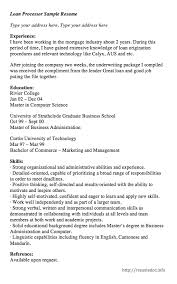 Here Is The Free Loan Processor Sample Resume You Can