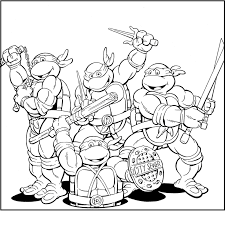 Funny Ninja Turtles Team Coloring Pages