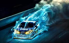 Hd Wallpaper Drift Racing Hd Lowe S Chevrolet Racing Car With Smoke And Blue Flame Wallpaper Wallpaper Flare