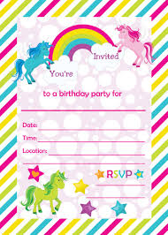 Fill In Birthday Party Invitations Printable Rainbows And Unicorns
