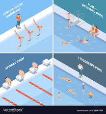 Public Pool Design Public Swimming Pool Isometric Concept