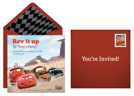 plan a speedy cars birthday party disney cars online invitaiton