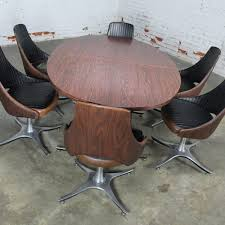 dinette swivel chairs. mid century dinette set with aluminum base oval double pedestal table and six swivel chairs