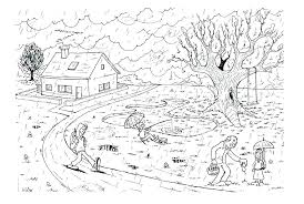Nature Scene Coloring Pages Garden Nature Scene Coloring Page