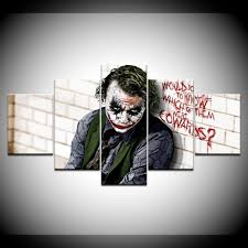 ✅ free delivery and free returns on ebay plus items! Amazon Com Hua Jie Wall Canvas Batman Joker The Dark Knight Picture Hanging Kit Large Canvas 5 Piece Wall Art Hd Quality Home Decor Framed Ready To Handg In Living Room Posters