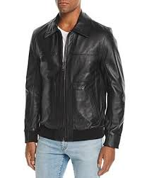 Andrew Marc Vaughn Shirt Collar Leather Bomber Jacket In Black | ModeSens