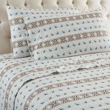 4 piece reindeer stripe california king polyester sheet set by micro flannel