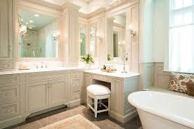 traditional gray bathroom with makeup vanity view full size