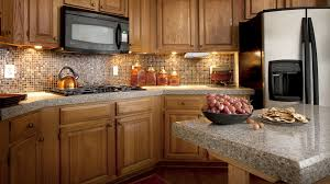kitchen modern granite. Kitchen:Modern Small Kitchen Design With Mosaic Backsplash And Grey Granite Countertop Decor Idea Modern