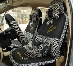 name zebra lace universal auto car seat cover set 21pcs ice silk black