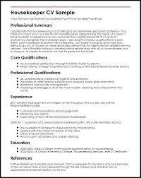 Housekeepers Resume Housekeeper Sample Housekeeping Resume Sample