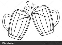 Lijn Twee Bierpul Kunst Zwart Wit Stockvector Bessyana 207036574