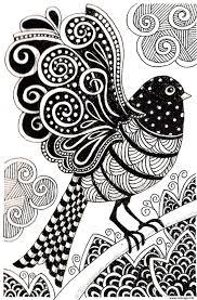 Coloriage Adulte Oiseau Sombre Dessin
