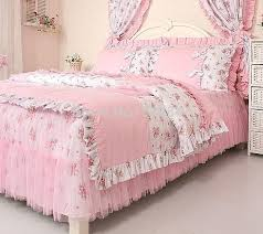 pink rural princess lace ruffle fl bedding sets kids soft bow duvet cover set twin queen king lace ruffle bedding sets lace ruffle bed in a bag duvet