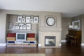 staggered shelves living room eclectic with photo ledge trestle standard height dining tables