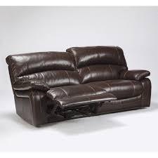 Ashley Furniture Damacio Leather Reclining Sofa in Dark Brown