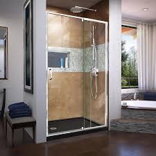 DreamLine Flex 44-in to 48-in W Frameless Chrome Pivot Shower Door