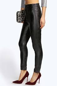 boohoo lara leather look lace up side skinny trousers