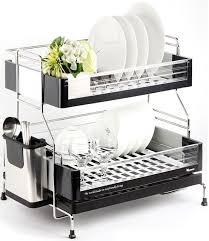 Dish Drying Rack 2tier Kitchen Dry Shelf Stainless Steel Cutlery Holder