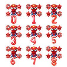 6PCS 18inch Star number Balloons <b>Spider-Man</b> Foil Balloons ...