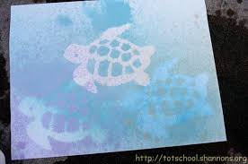 Stenciling Spray Paint Watercolor Spray Painting With Stencils Shannons Tot School
