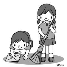お掃除イラストモノクロ 子供と動物のイラスト屋さん わたなべふみ