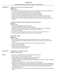 Teaching Artist Resume Samples Velvet Jobs
