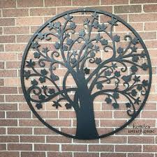 large outdoor metal tree wall art