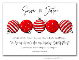 Christmas Party Save The Date Templates Red Ornaments Holiday Save The Date Cards