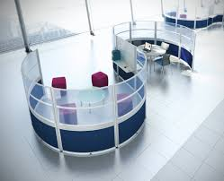 modern office dividers. S Shaped Modern Office Wall Divider Made Pf Fiberglass On White And Blue Color Scheme Placed Dividers