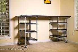 desk and shelves industrial pipe desk with shelving desk with shelves above diy