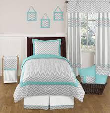simple bedroom with turquoise grey chevron zig zag twin size
