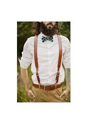 2 piece set brown leather suspender belt for groom groomsmen