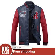 wjkfgi new mens pu jacket baseball suit fashion embroidered letter leather jacket male ready stock