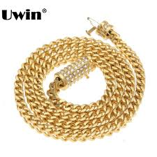 uwin trendy mens gold franco chain necklace upgrade rhinestones box clasp snless steel necklace hiphop jewelry whole