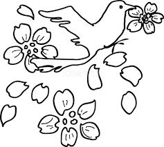 白黒の桜イラスト おしゃれ花びらくわえる鳥39640 素材good
