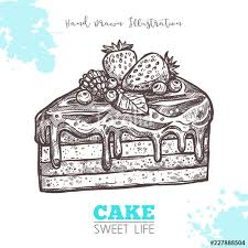Sweet Piece Of Cake With Cream And Berries Sketch Hand Drawn Vector