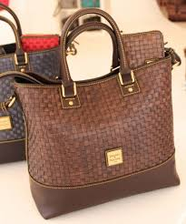 nwt dooney and bourke woven per tessuta coffee brown leather tote bag purse