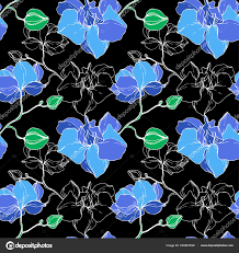 beautiful blue orchid flowers engraved ink art seamless background pattern fabric wallpaper print texture vector by andreyh