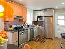Orange And White Kitchen Awesome Orange Kitchen Cabinets With Green And White Backsplash
