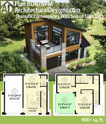 plan dramatic contemporary with second floor deck modern story house plans with walkout basement