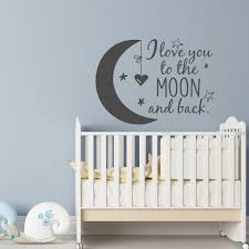 english quote cute baby kids bedroom wall stickers stars heart vinyl decor decal i love you to the moon and back home mural wall art stickers wall art