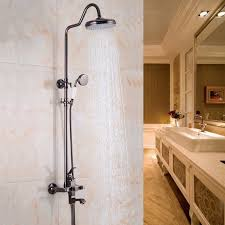 contemporary wall mounted brass oil rubbed bronze bath shower faucet set 8 rain shower head hand shower spray