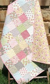 98 best Fall Table Runners/Placemats, etc. images on Pinterest ... & Baby Girl Quilt Kit, Ambleside for Moda Fabrics, Flowers in Grey Blue Pink  Yellow, Beginner Simple Patchwork DIY Do It Yourself Shabby Chic by ... Adamdwight.com