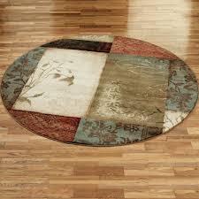 impression leaf round rug