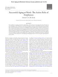 Pdf Successful Aging At Work The Active Role Of Employees