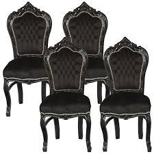 amazing set of 4 dining room chairs baroque gothic black velvet