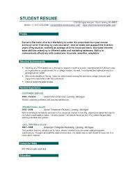 Resume Objective For College Student Resume Sample