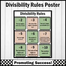 Divisibility Rules Chart For Kids Divisibility Rules Poster Math Anchor Chart Modern Farmhouse Classroom Decor