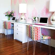 wallpapered office home design. Fine Home Home Office Pink Wallpaper Long Desk Emily Griffin Design Throughout Wallpapered Office Home Design